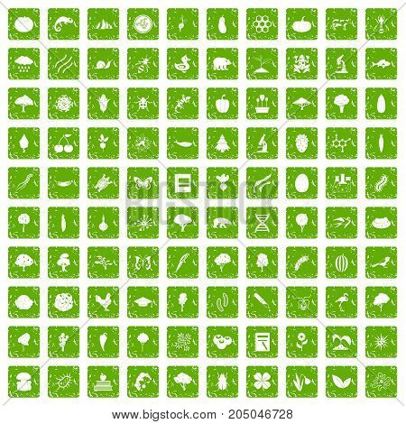 100 microbiology icons set in grunge style green color isolated on white background vector illustration