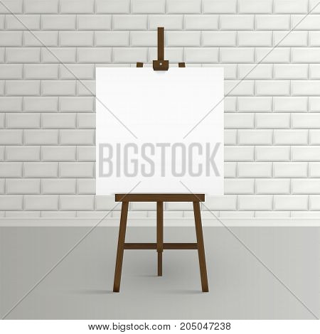 Blank canvas on a artist' easel. Blank art board and wooden ease.l Easel with blank canvas on a brick wall background Vector illustration. Eps 10.