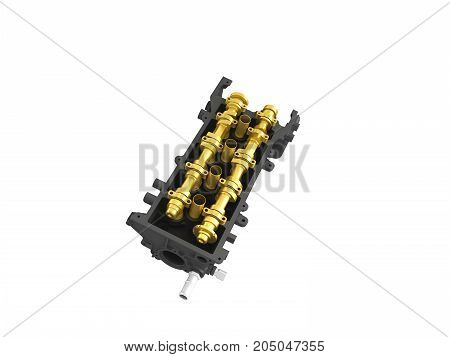 Concept Of The Cylinder Head Head Black Gold 3D Render On A White Background No Shadow