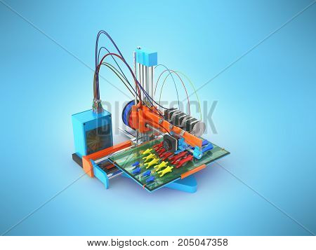 Concept Print Hand Prosthesis On 3D Printer 3D Rendering On Blue Background