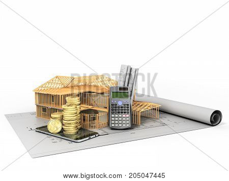 Concept Of Calculating The Construction Of A Country House Drawing Communication Money 3D Render On
