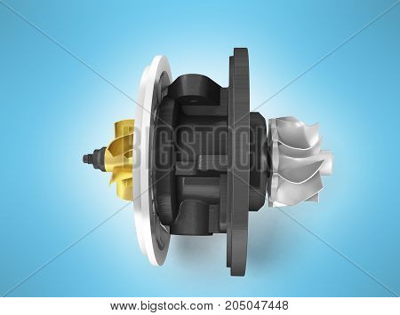 Concept Of Cartridge Turbine Front 3D Rendering On Blue Background