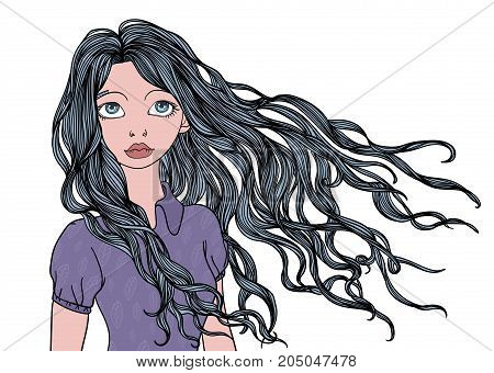 A young girl with long waving in the wind hair. Vector portrait illustration, isolated on white background.