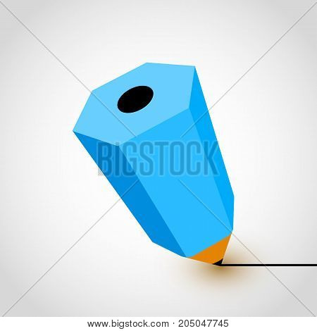 Blue pencil icon on white background. Vector illustration