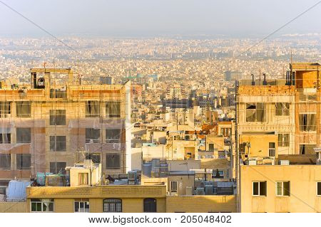 Tehran Cityscape At Sunset. Iran
