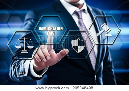 Business, technology, internet concept on hexagons and transparent honeycomb background. Businessman pressing button on touch screen interface and select immigration law.
