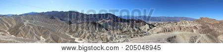 Panorama Photo Of The Great Landscape Of Death Valley With Dramatic Cloudy Sky. Desert. Usa, Califor