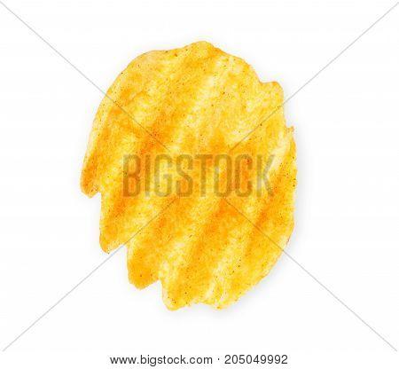 Wavy potato chips on a white background