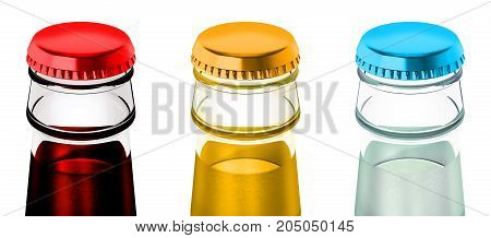 Soda bottles with metal caps. 3D illustration.