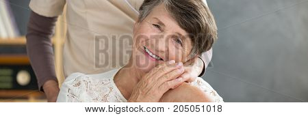 Close-up of grateful senior woman thanking her daughter for support and spending time together
