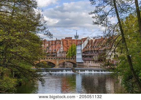 river Pegnitz in Nuremberg historical center Germany