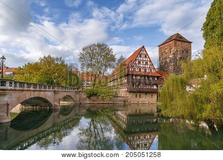 Weinstadel (medieval wine warehouse) is located on the river side in the heart of historical area of Nuremberg Germany