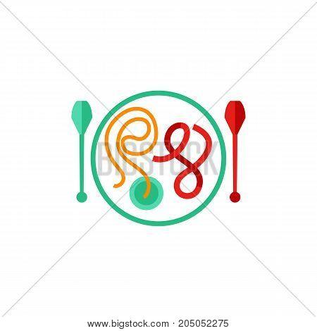 Icon of gymnastics equipment. Ribbon, clubs, creativity. Gymnastics concept. Can be used for topics like rhythmic gymnasts, art, sport