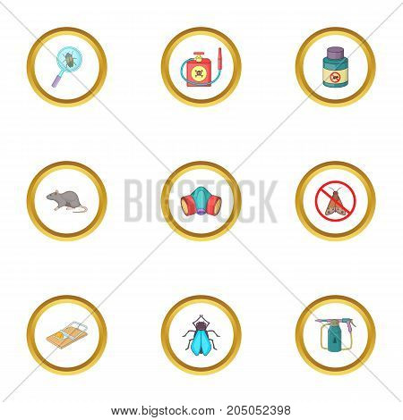 Harassment of insect icons set. Cartoon style set of 9 harassment of insect vector icons for web design