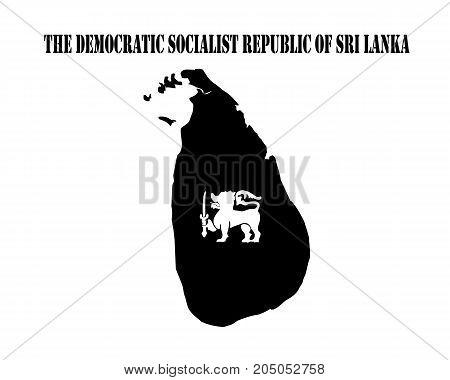 Black silhouette of the map and the white silhouette of the Isle of Democratic Socialist Republic of Sri Lanka symbol