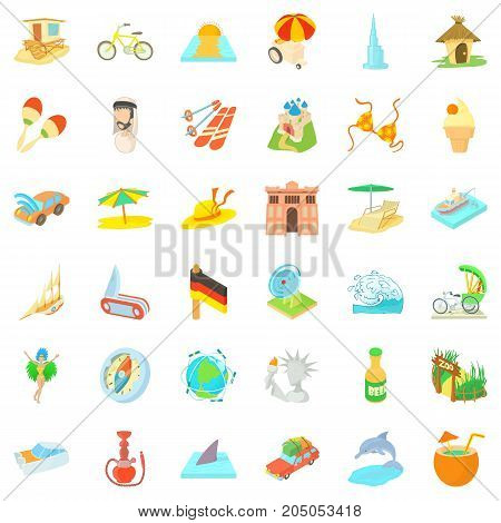 Rest icons set. Cartoon style of 36 rest vector icons for web isolated on white background