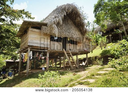 Thatched hut - Native indian home at the Embera Indian village. December 28 2012 - Embera Drua Chagres River Panama