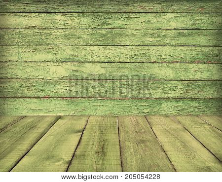 Old wooden room interior, green empty background with space for your text or design