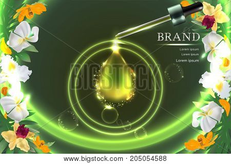Collagen Serum drop with advertising background ready to use, natural concept skin care ad. Illustration vector