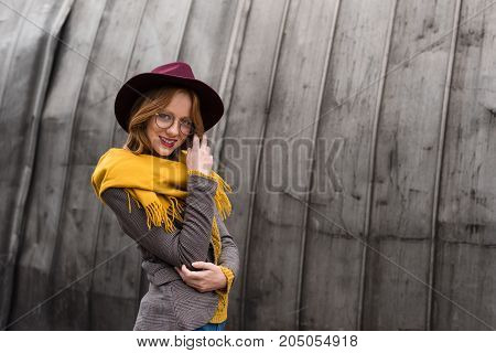 Girl In Hat And Scarf