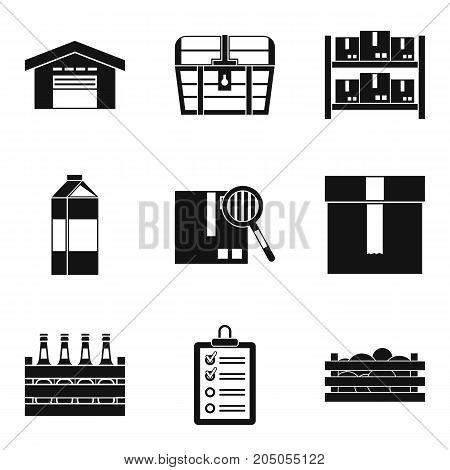 Pack in box icons set. Simple set of 9 pack in box vector icons for web isolated on white background