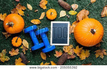 Blue Dumbbells And Autumn Pumpkin Wih Blackboard And Leaves