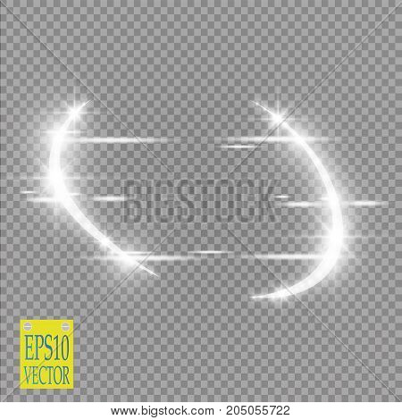 Abstract luxury vector light flare semicircle and spark light effect. Sparkling glowing violet round frame on transparent. Starlight moving background. Glow blurred space for message or logo. Vector