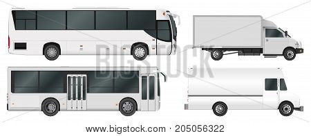 City bus and truck template. Passenger transport. Vector illustration eps 10 isolated on white background