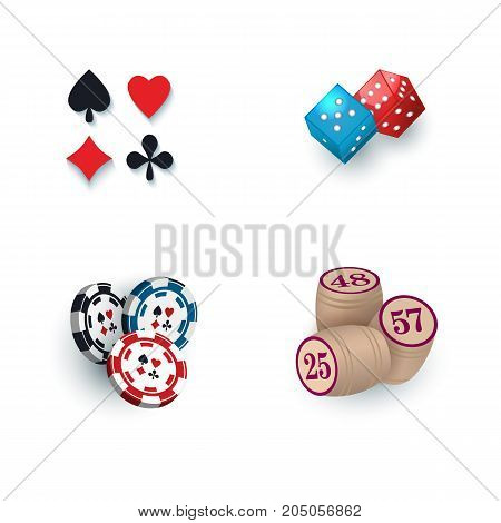 Set of casino symbols - playing card suits, chips, tokens, bingo kegs and dices, vector illustration isolated on white background. Playing card suit symbols, dices, casino chips, tokens, bingo kegs
