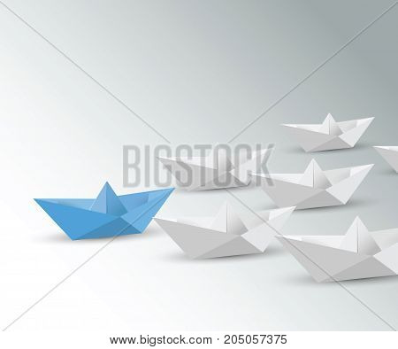 Leadership concept with blue vector paper ship.