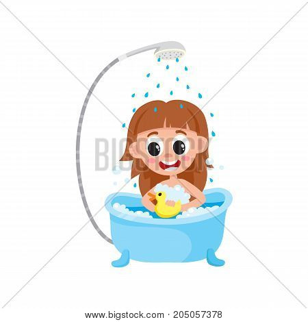 vector girl kid washing in bathtub, relaxing in bubble bath, playing with duck toy smiling. Cartoon female character isolated illustration on a white background. Daily routine concept