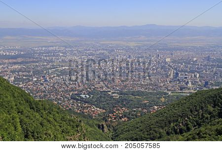 Aerial View Of Bulgarian Capital Sofia