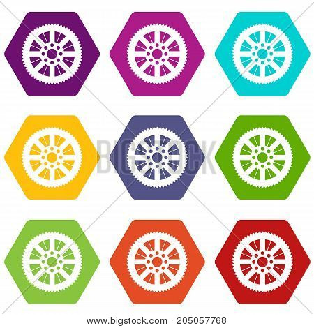 Sprocket from bike icon set many color hexahedron isolated on white vector illustration