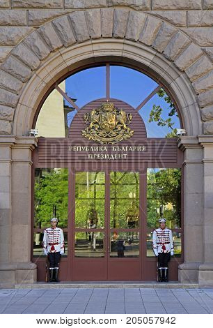 Sofia, Bulgaria - August 3, 2017: Guards in front of the Presidency Building in Sofia, Bulgaria