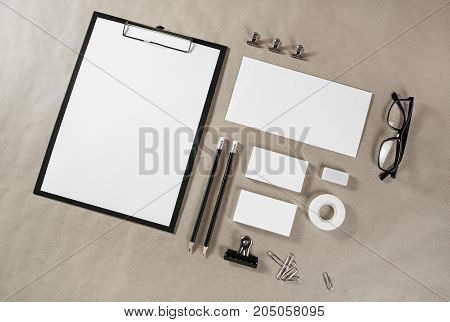 Blank stationery set on paper background. ID template. Mockup for branding identity for designers.