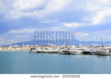 SPLIT, CROATIA - 13 JULY, 2017: Yachts in the port of Split Croatia