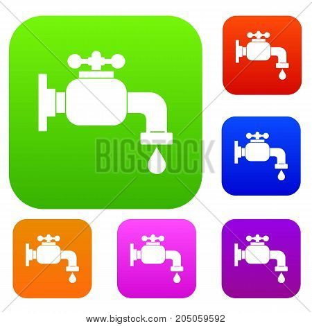 Water tap set icon color in flat style isolated on white. Collection sings vector illustration