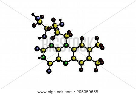 Molecular structure of pyridoxine (so called vitamin B2 or vitamin G) 3D rendering