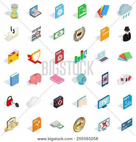Folder icons set. Isometric style of 36 folder vector icons for web isolated on white background