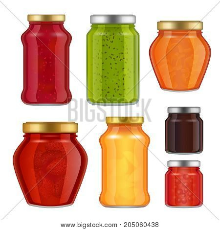 Vector fruit jam jar icon set. Delicious strawberry, peach, raspberry preserves, etc. Jam jar packaging collection. Glass jars with metal caps templates.