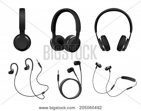 Vector set of wireless and corded headphones, earphones. Realistic black headphones music accessories isolated on white background.