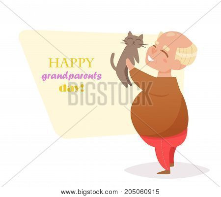 Grandpa stands with the cat in hand. Vector. Cartoon. Isolated art on white background. Flat. Grandparents day.