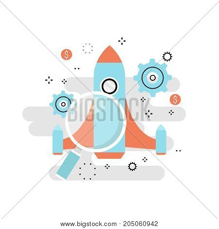 Business project startup process, startup idea launching, project management, startup launch flat line business vector illustration design banner