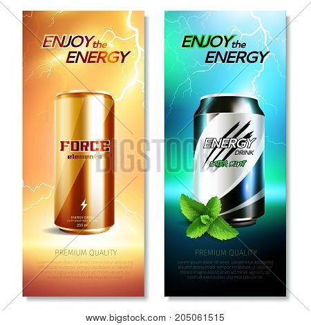 Two isolated aluminum cans drinks vertical banner set with enjoy the energy descriptions vector illustration