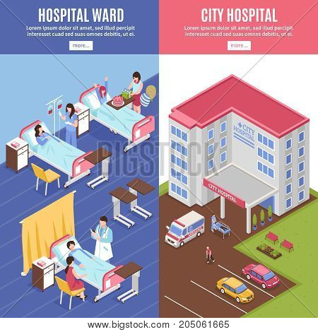 Hospital vertical banners set with city hospital symbols isometric isolated vector illustration