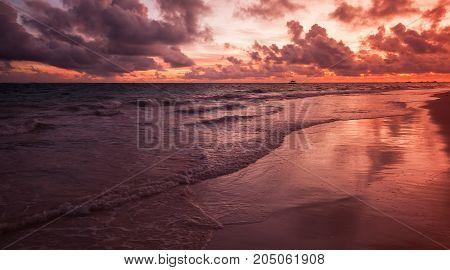 Red Sunrise Over Atlantic Ocean Coast, Bavaro