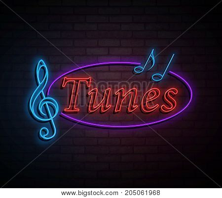 3d Illustration depicting an illuminated neon sign with a tunes concept.
