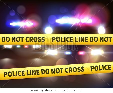 Car lights realistic composition with police line do not cross tape colourful light bar and headlight vector illustration