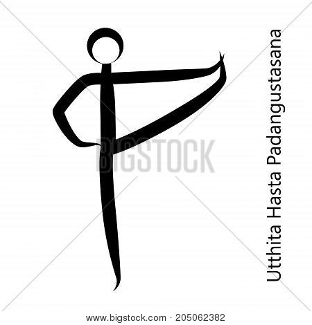 Extended Hand-To-Big-Toe Pose, Utthita Hasta Padangustasana. Yoga Position. Vector Silhouette Illustration. Vector graphic design or logo element for spa center, studio, poster. Yoga retreat. Black