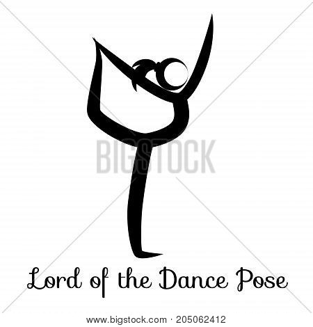 Lord of the Dance Pose, Natarajasana. Yoga Position. Vector Silhouette Illustration. Vector graphic design or logo element for spa center, studio, poster. Yoga retreat. Black. Isolated